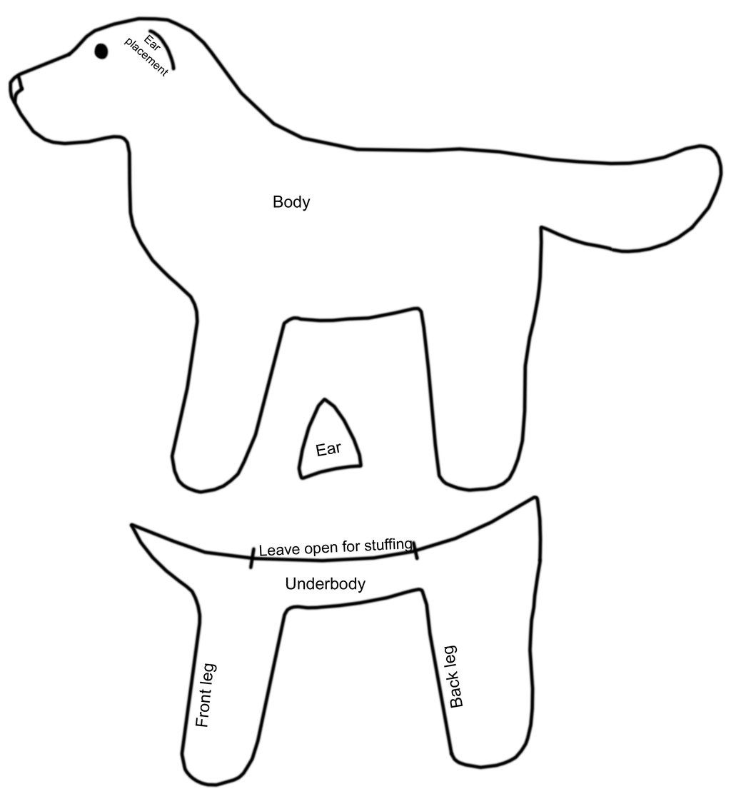 Free simple dog pattern by on for Stuffed animal templates free