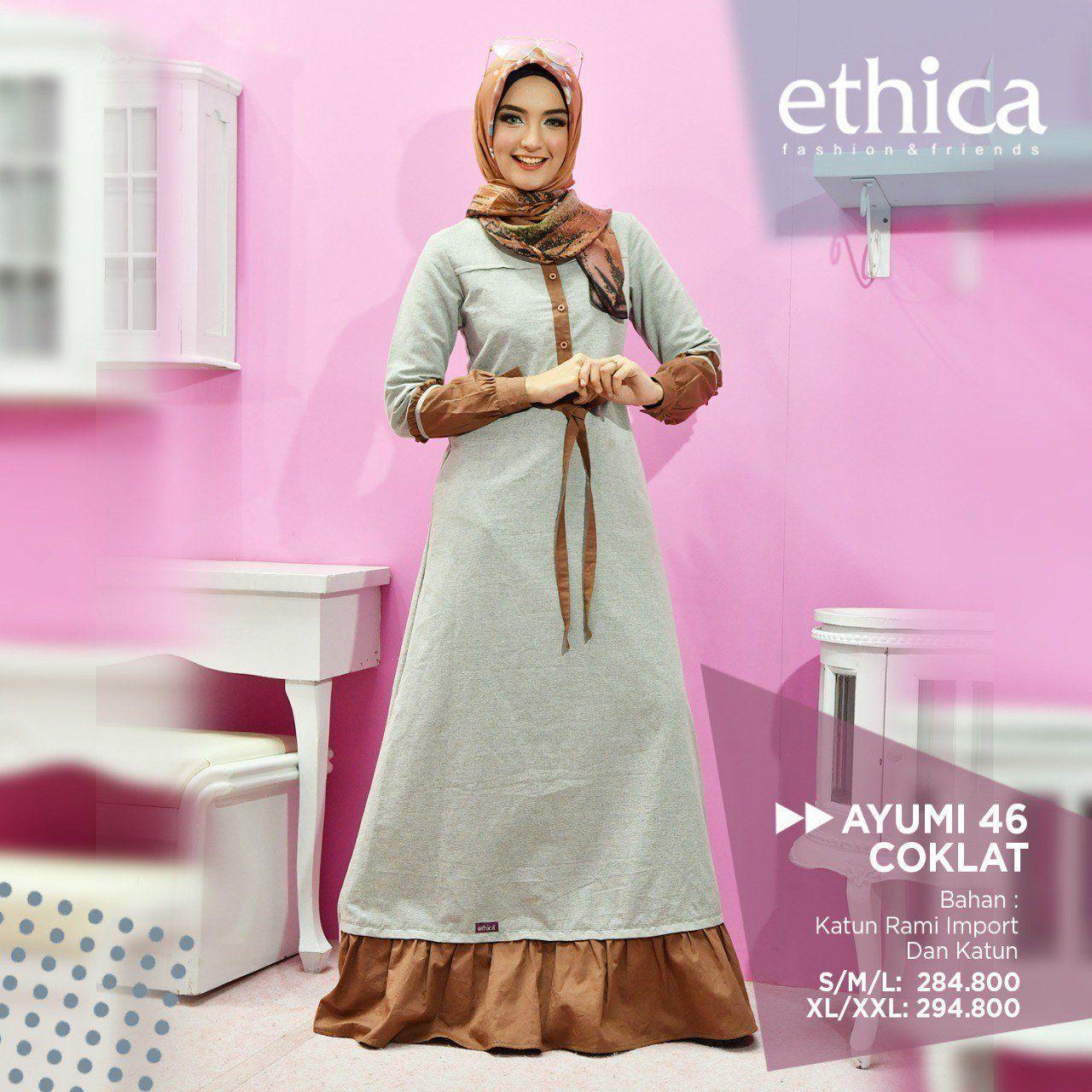 Model Gamis Ethica Terbaru 2018 Baju Muslim Coklat