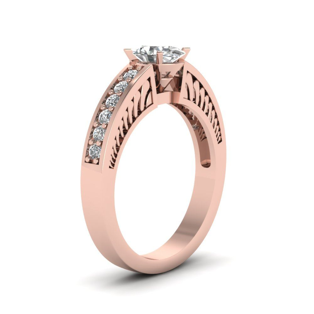 Oval Pave Diamond Ring Handmade Jewelry with Orange Sapphire in 18K Rose Gold For Women exclusively styled by Fascinating Diamonds