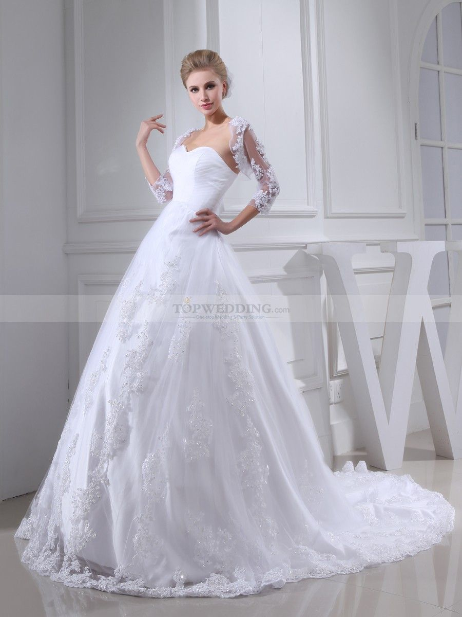 Two piece tulle and satin wedding dress with delicate trim satin