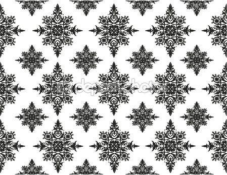 Seamless damask pattern. Black and white.