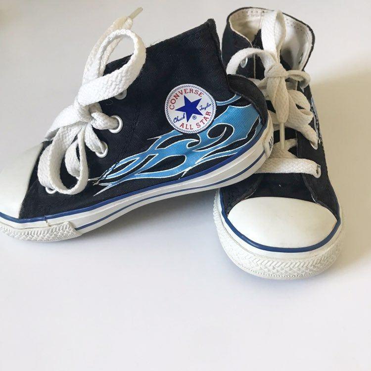 Converse blue flame converse high tops