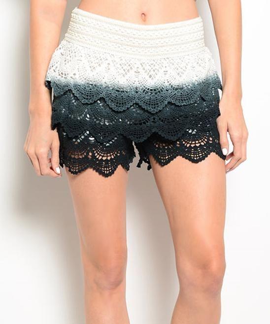 Black & Ivory Tiered Crochet Shorts