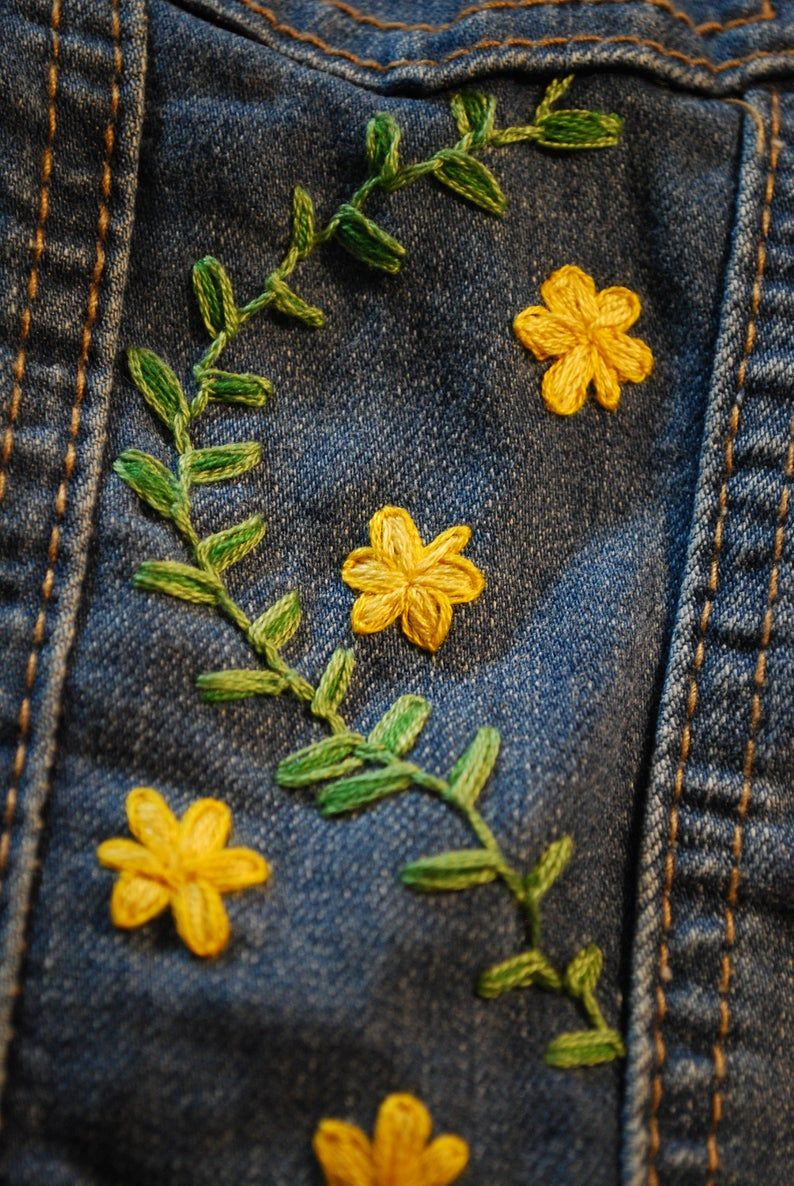 Embroidered Vest with Yellow Flowers - Denim wildflower hand embroidery