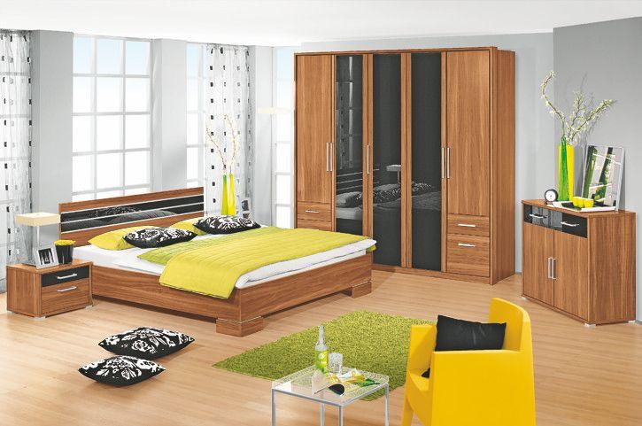 Schlafzimmer Komplettset In Nussbaum / Glasauflage Schwarz