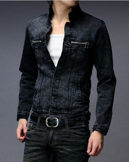 Mens Denim Jacket Stand Collar Long Sleeve Single Breasted Casual ...