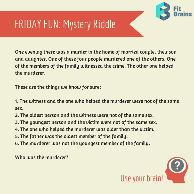 Brain Teaser Mystery Riddle Brain teasers, Brain