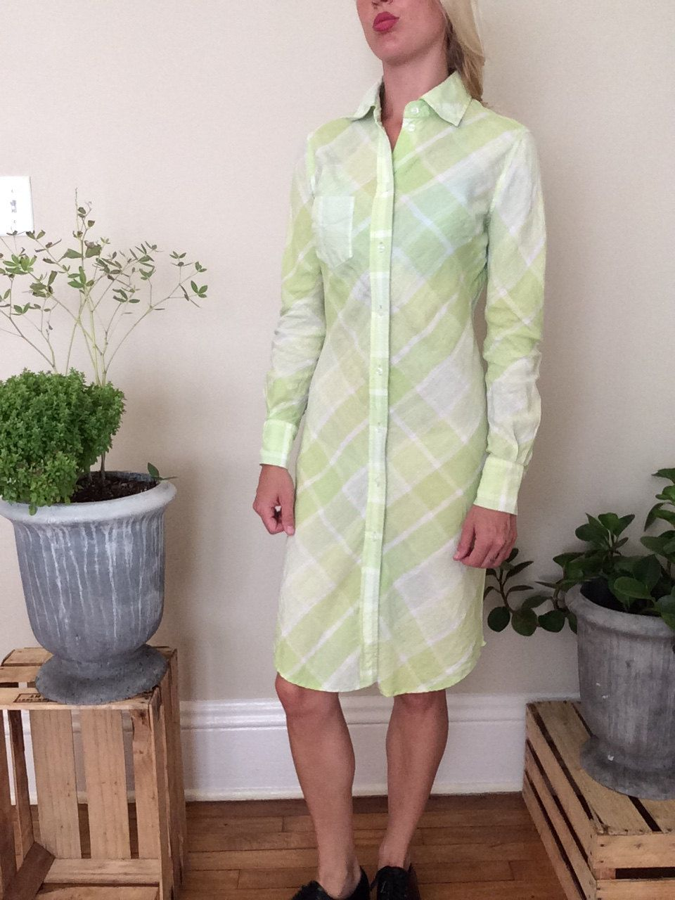 Flannel shirt trend  Lime green plaid shirt style dress by Donovanshop on Etsy  My shop