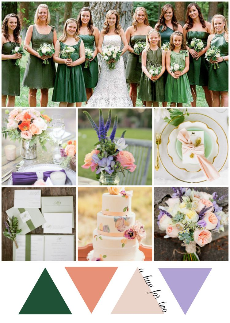 Emerald Peach And Lavender Wedding Colour Scheme A Hue For Two