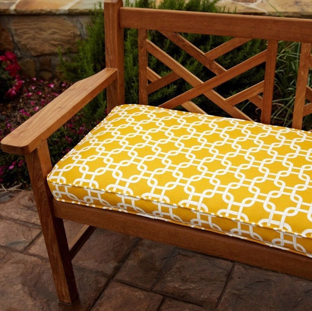 60 Inch Fade And Mildew Resistant Fabric Trimmed Bench Cushions