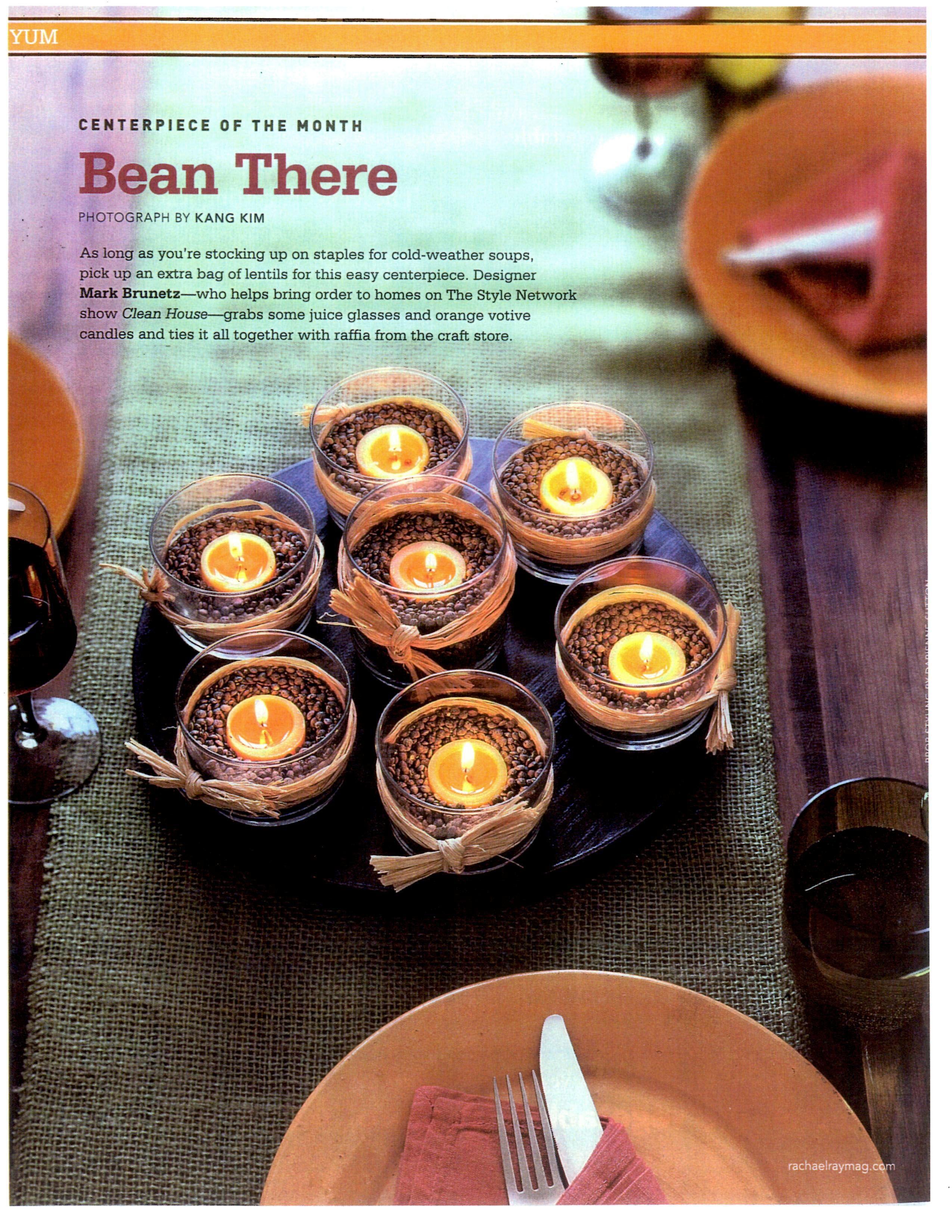 Lentils, juice glasses, and votive candles