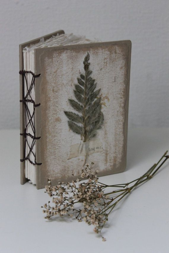 Handmade Paper Book Cover : Coptic bound journal with handmade paper and by