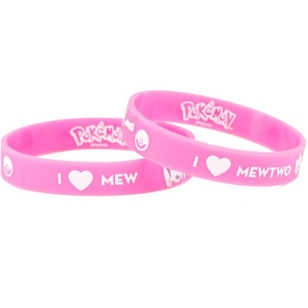 Nintendo Pokemon I (Heart) MewMewtwo Rubber Bracelet 2 Pack ($3.99) ❤ liked on Polyvore featuring jewelry, bracelets, multi, heart bangle, heart jewelry, rubber jewelry, nintendo jewelry and nintendo