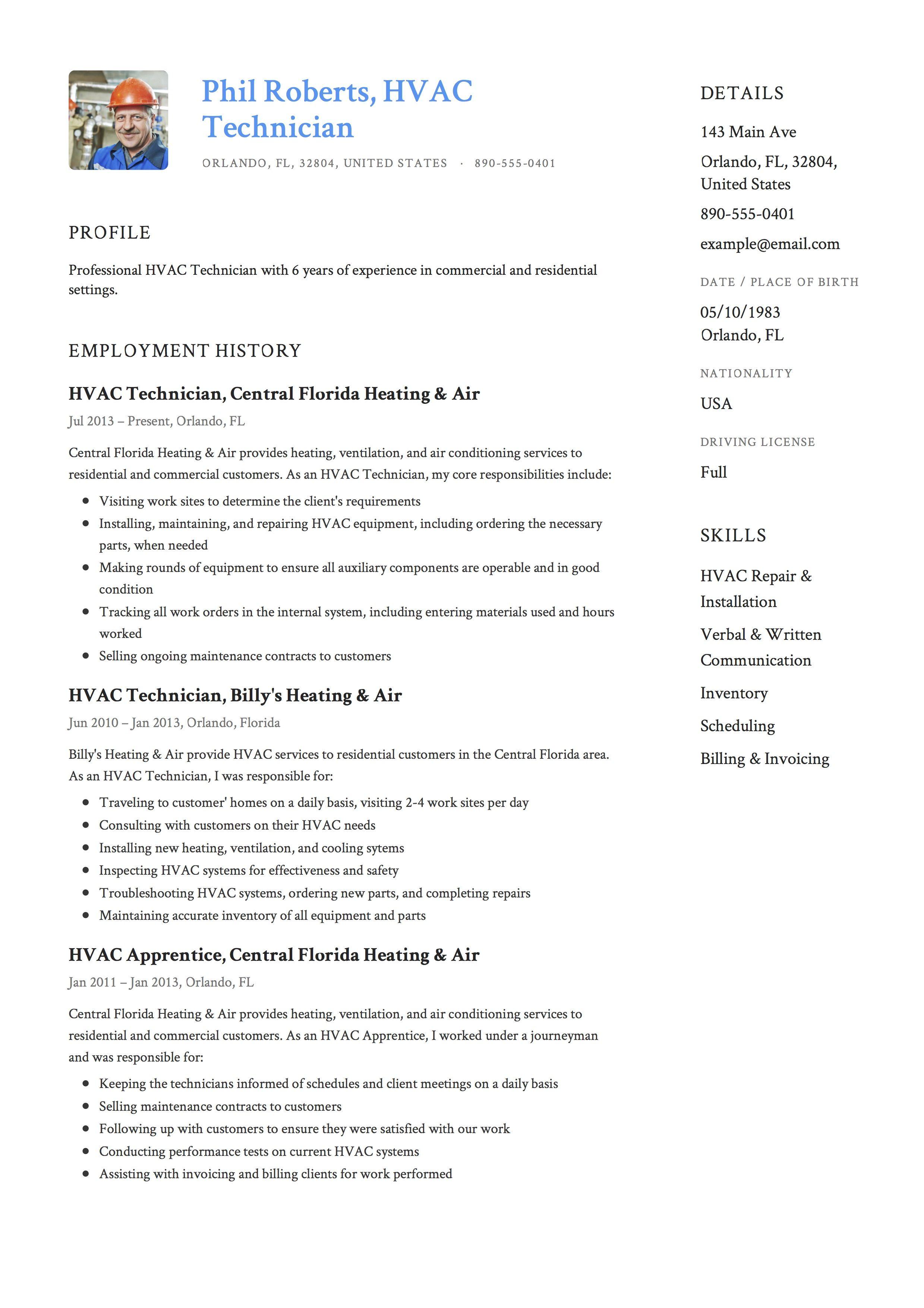 Hvac Technician Resume Example Nursing Resume Template Resume Guide Hvac Technician