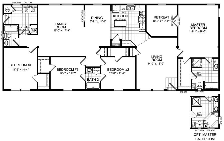floor plan for 4 bedroom 3 bathroom mobile home the bighorn 2305 square feet model - 4 Bedroom House Floor Plans