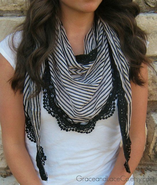 LOVE this scarf!!!!    Lace Striped Scarf  Peach/black  lace scarf by GraceandLaceCo, $17.00