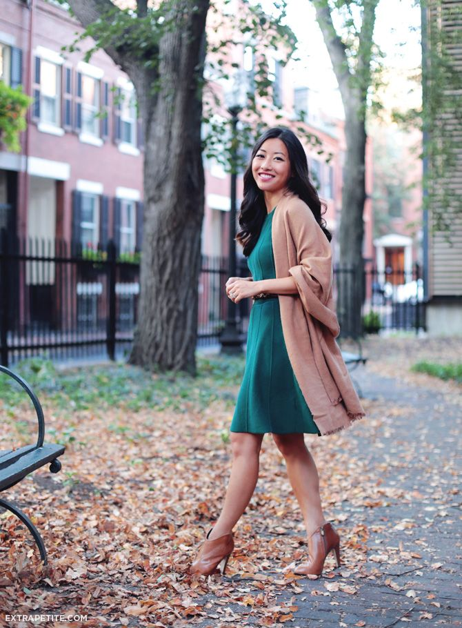 Shades of Autumn: jade green + warm camel - Extra Petite #sweaterdressoutfit