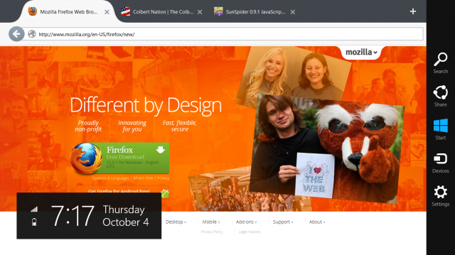 Firefox Metro hits Windows 8 with a very early, very buggy