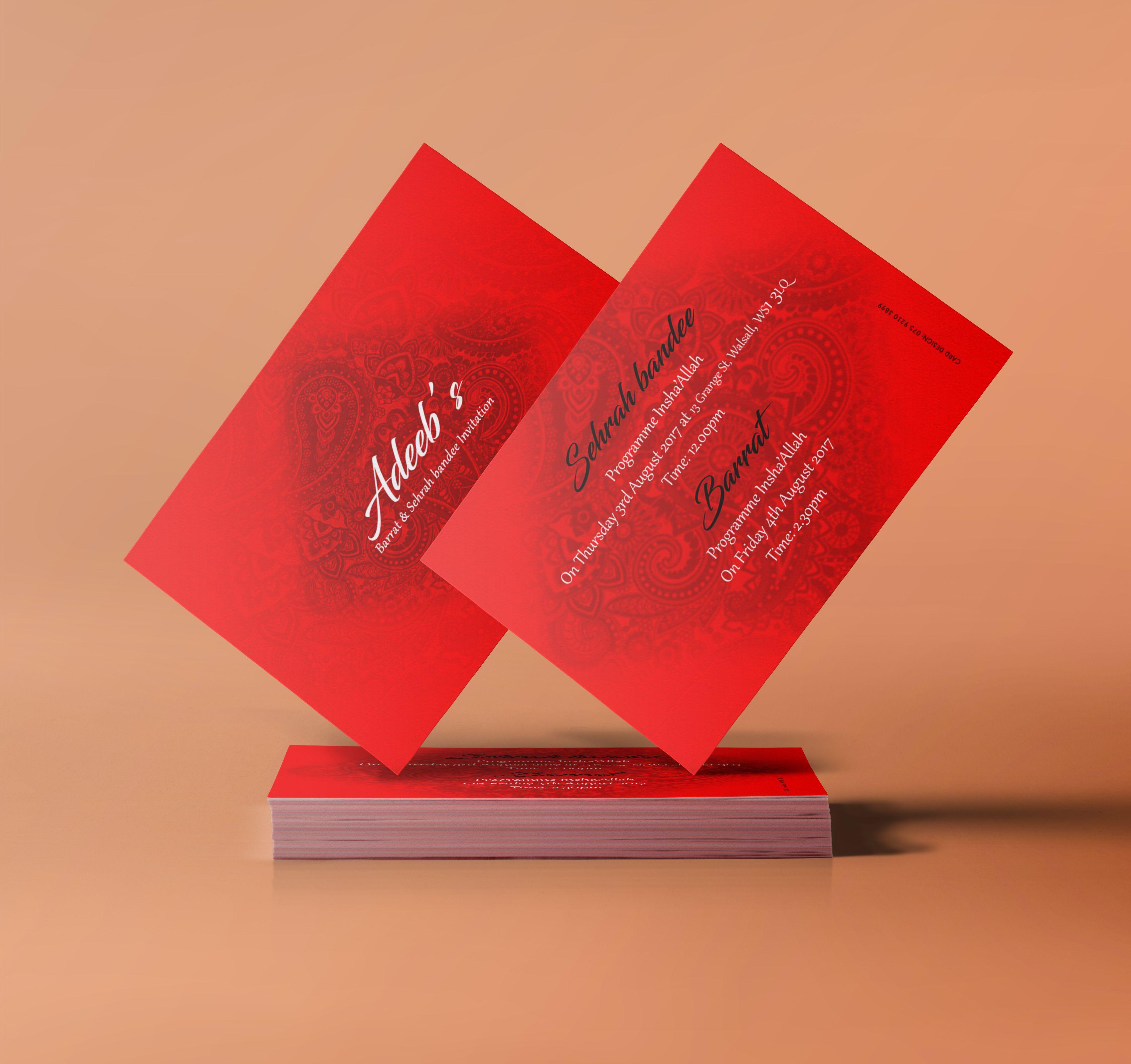 Red & White Double Sided Mehndi Invitation Card Beautiful, elegant ...