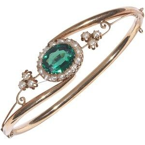Preowned Antique Green Tourmaline Pearl Gold Bangle Bracelet