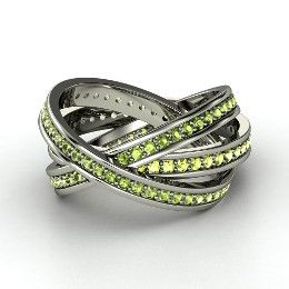 Brilliant Triple Rolling Rings, White Gold Ring with Peridot
