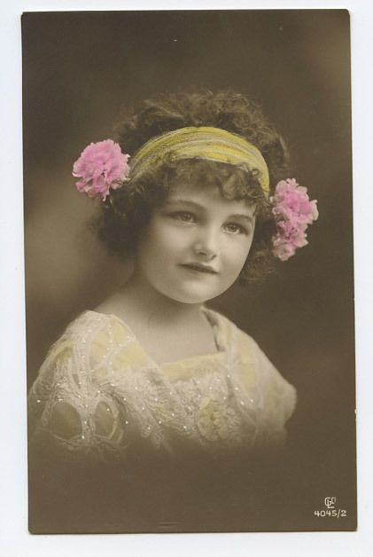 Pretty Child Girl with Flowers Hairdo original old 1910s photo postcard
