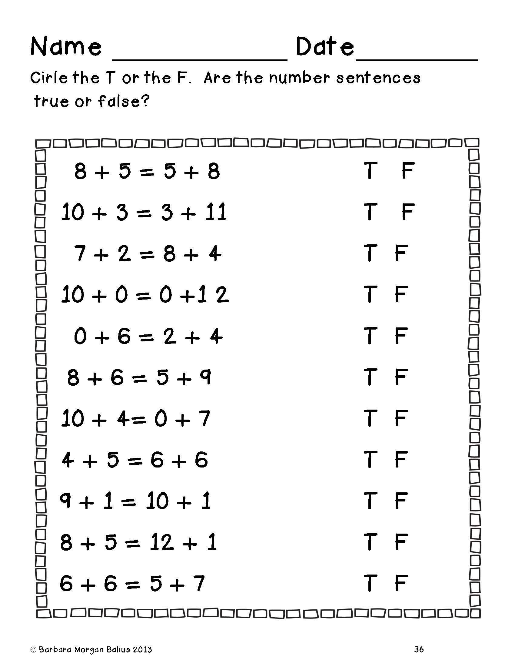 First Grade Math Number Sense First Grade Classroom First Grade Math Number Sense Worksheets