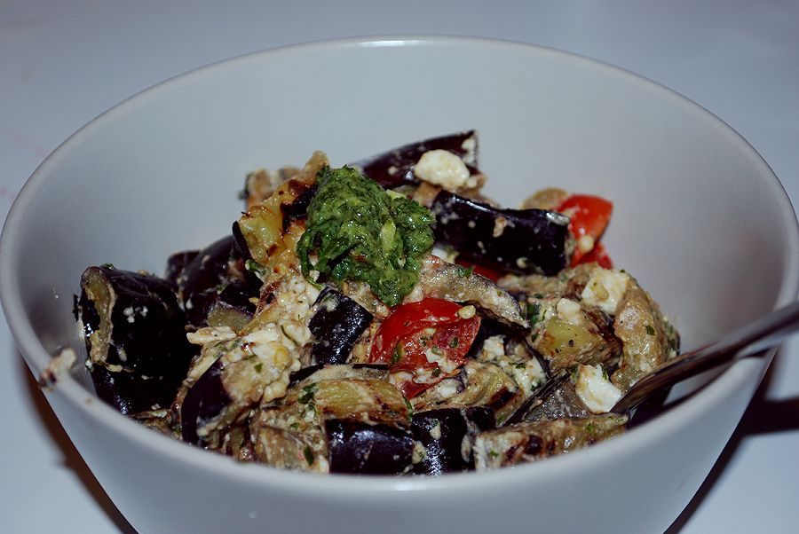aubergines, cherry tomatoes and feta salad
