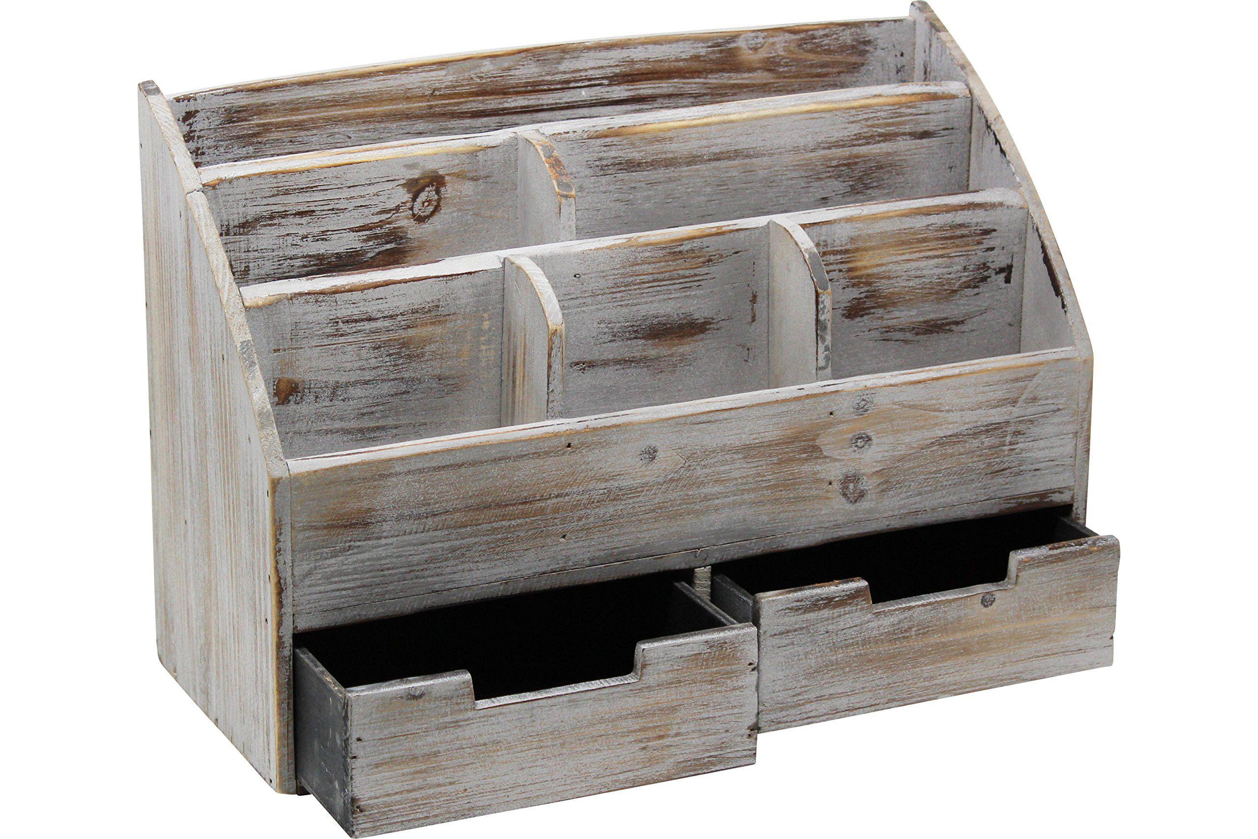 Vintage Rustic Wooden Office Desk Organizer And Mail Rack For Desktop Ta Office Supplies Desk Accessories Desk Organization Office Wooden Office Desk