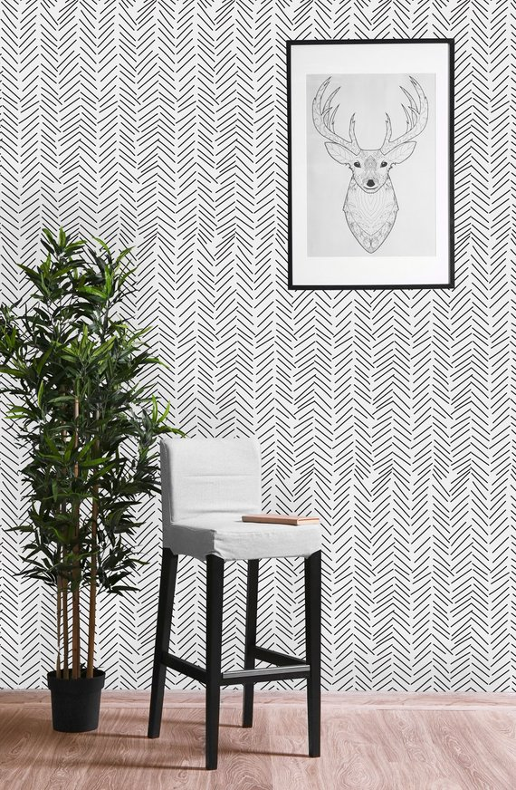 Black and White Geometric Sticks Removable WallpaperPeel