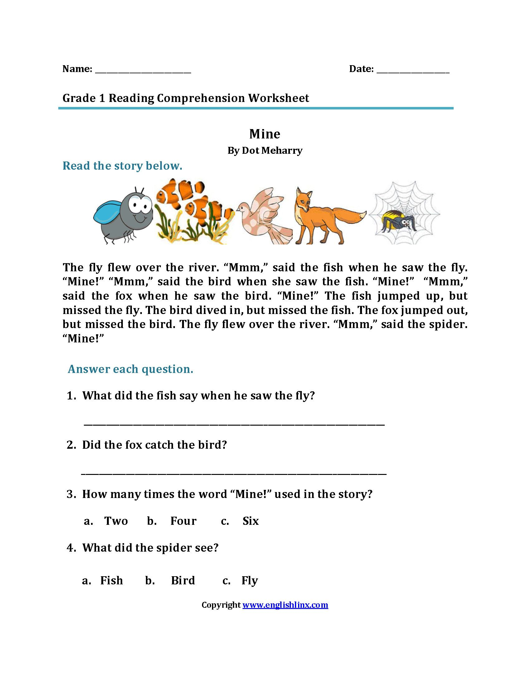 Reading Worksheets for 1st Grade in 2020 Reading