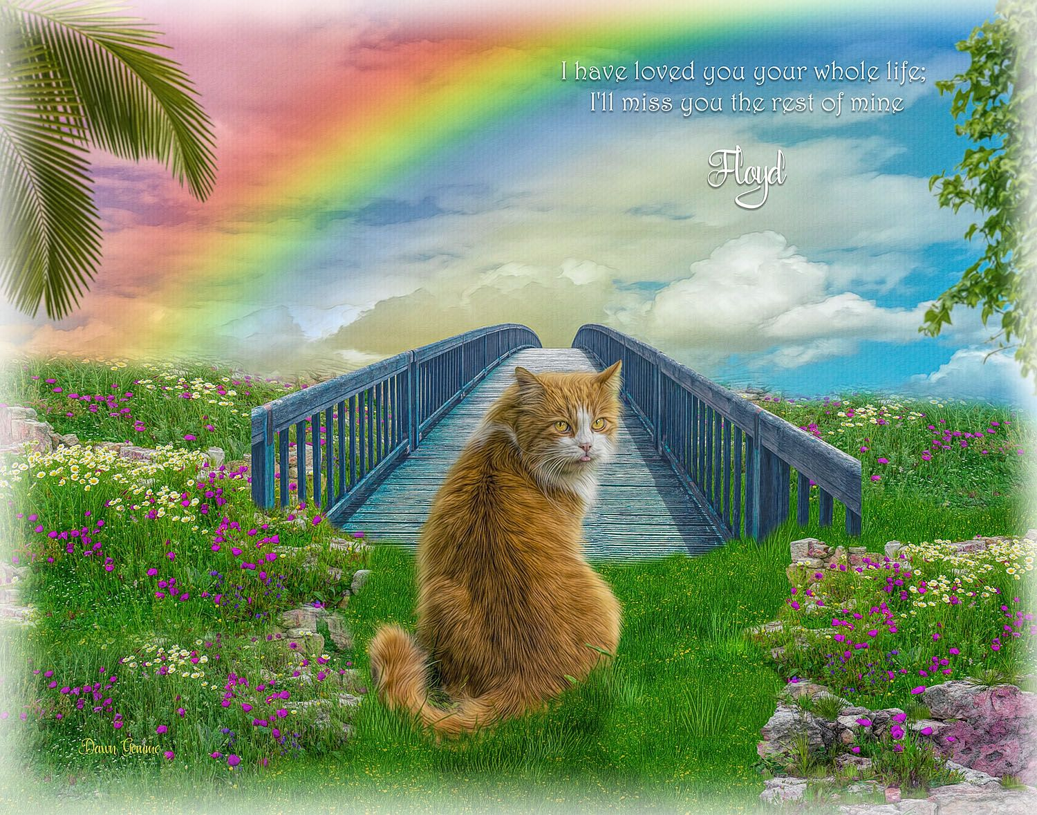 Rainbow Bridge Pet Memorial Portrait Painting Bright And Colorful
