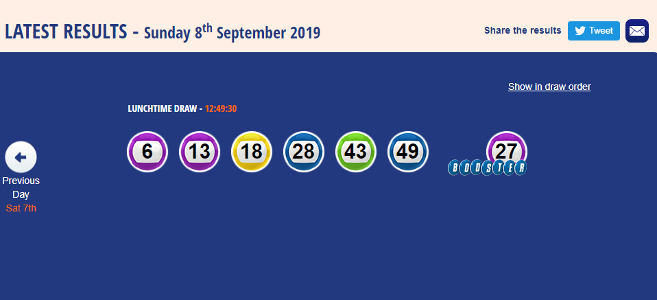 Uk 49s Teatime Result 15 September 2019 With Images Lunch Time