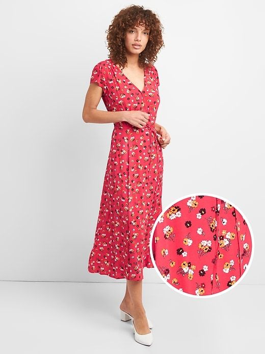 a9c5642a6f Gap Womens Floral Print Midi Wrap Dress Pink Floral | Products in ...