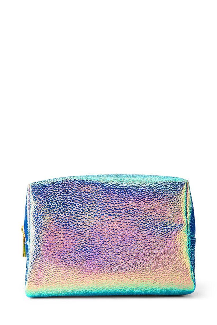 Holographic Pebbled Makeup Bag Leather makeup bag, Fun