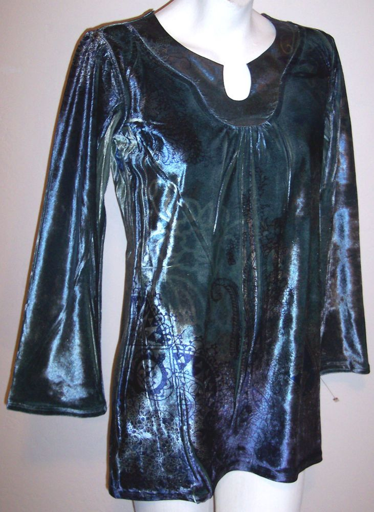 Style&co Top M Artsy Stretch Velveteen Velour Shirt Long Tunic Women's Petite PM #Styleco #KnitTop #Casual