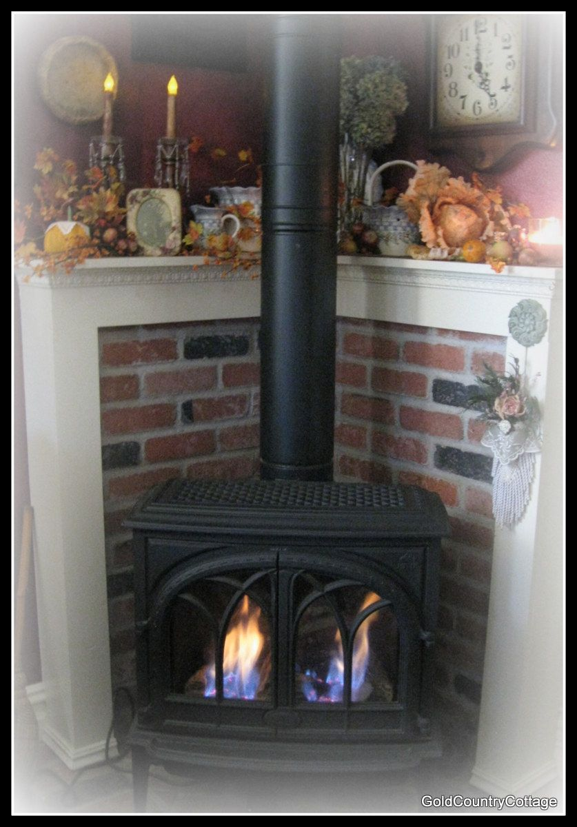Wood stove surround ideas - Goldcountrycottage Love This For My Pellet Stove