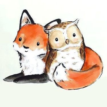 Cute Little Fox And Owl Tattoo Design Fox Art Cute Drawings Cute Art