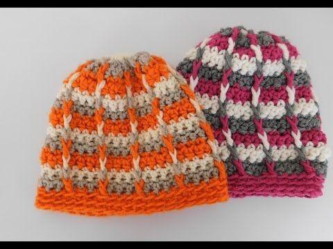 Mütze häkeln im Reliefmuster - Tricolor - YouTube | cuffie lana ...