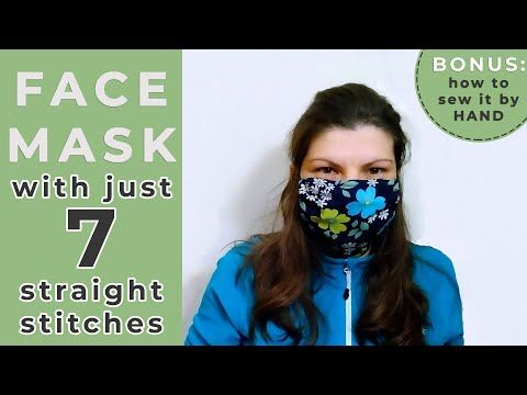 Photo of Fast & Easy REUSABLE Face Mask //JUST 7 Stitches / NO Elastic Needed / Sew by HAND or Sewing Machine