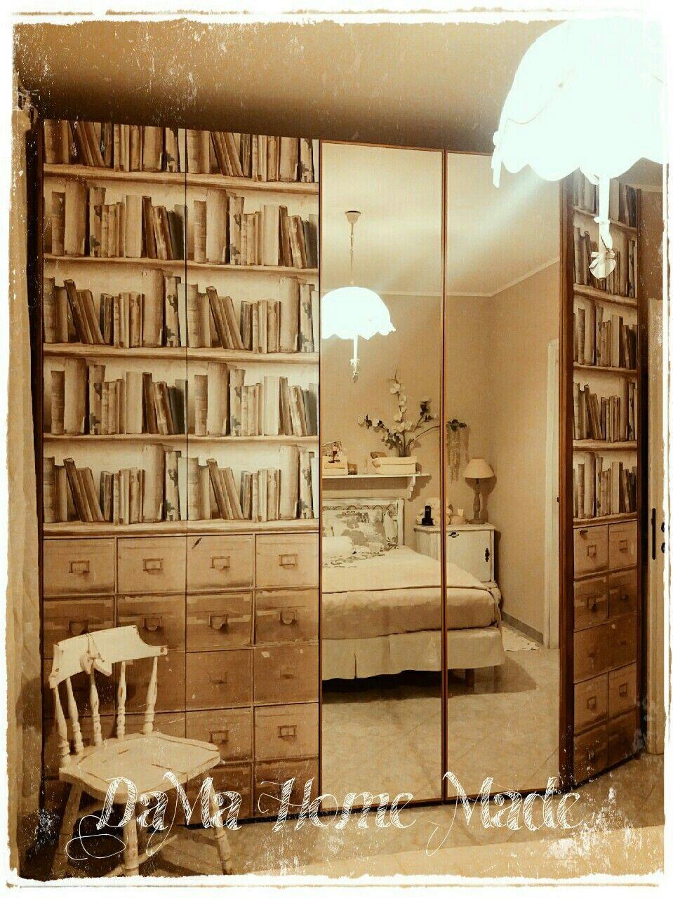 Restyling armadio con carta da parati vintage restyling - Carta da parati per rivestire mobili ...