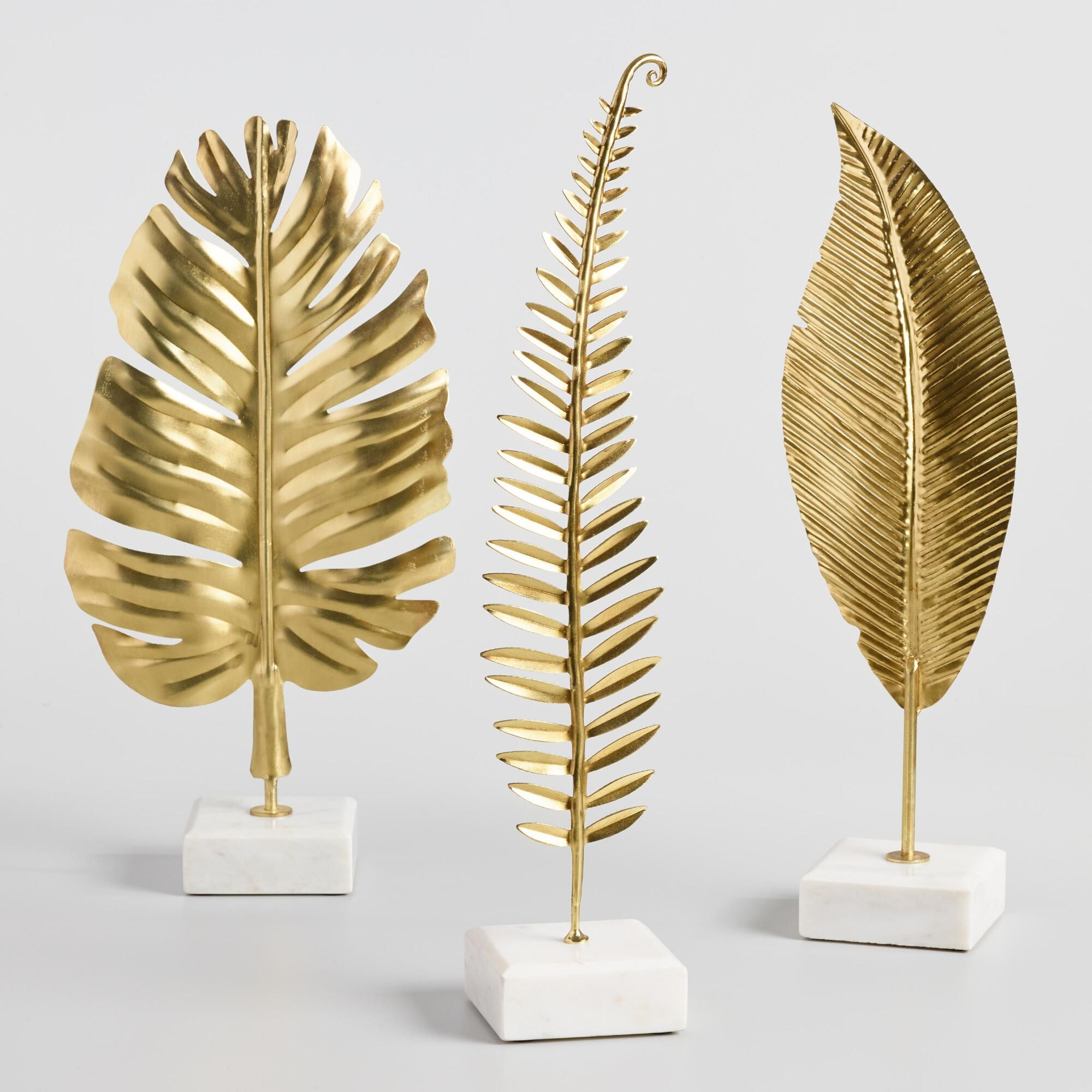 Gold Leaf on Marble Stand Decor Set of 3 by World