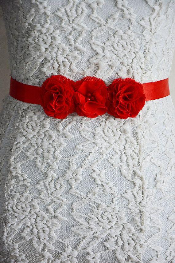 Cinturón fajín rojo novia flores de gasa para por HandMadeBloom ... 55f602c5ae81