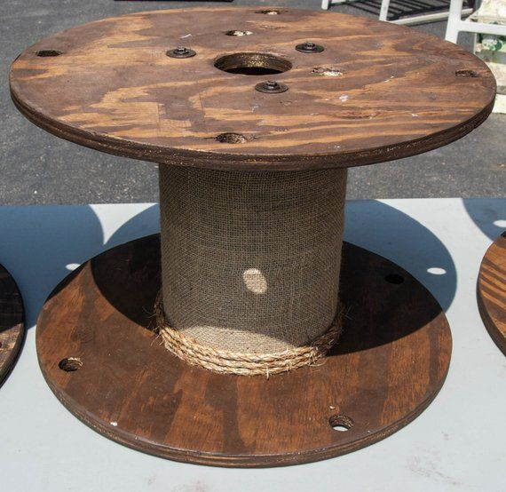 Small Wooden Stained Spool With Burlap And Rope Finishings In 2019