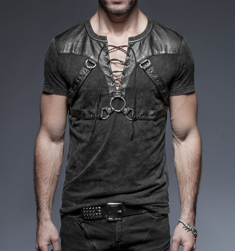Punk Rave Hombre Gotico Goth Rock Metal T-Shirt Top Steampunk ropa informal T42