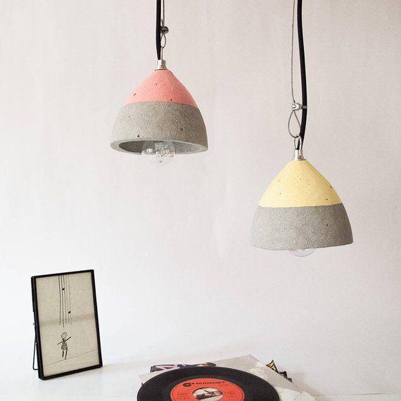 Colgante Cable Textil Mano Cemento De A Color Hecha Lampara Con FcTJluK13