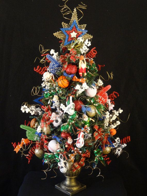 Lighted Sports Christmas Tree!!! Basketball, Baseball, Soccer, Football,  Lighted Christmas Tree,Decorated Sports Xmas Tree, Table Top tree - Sports Decorated Lighted Christmas Tree,Basketball Christmas Tree