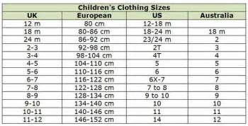 size 12 kids in euro