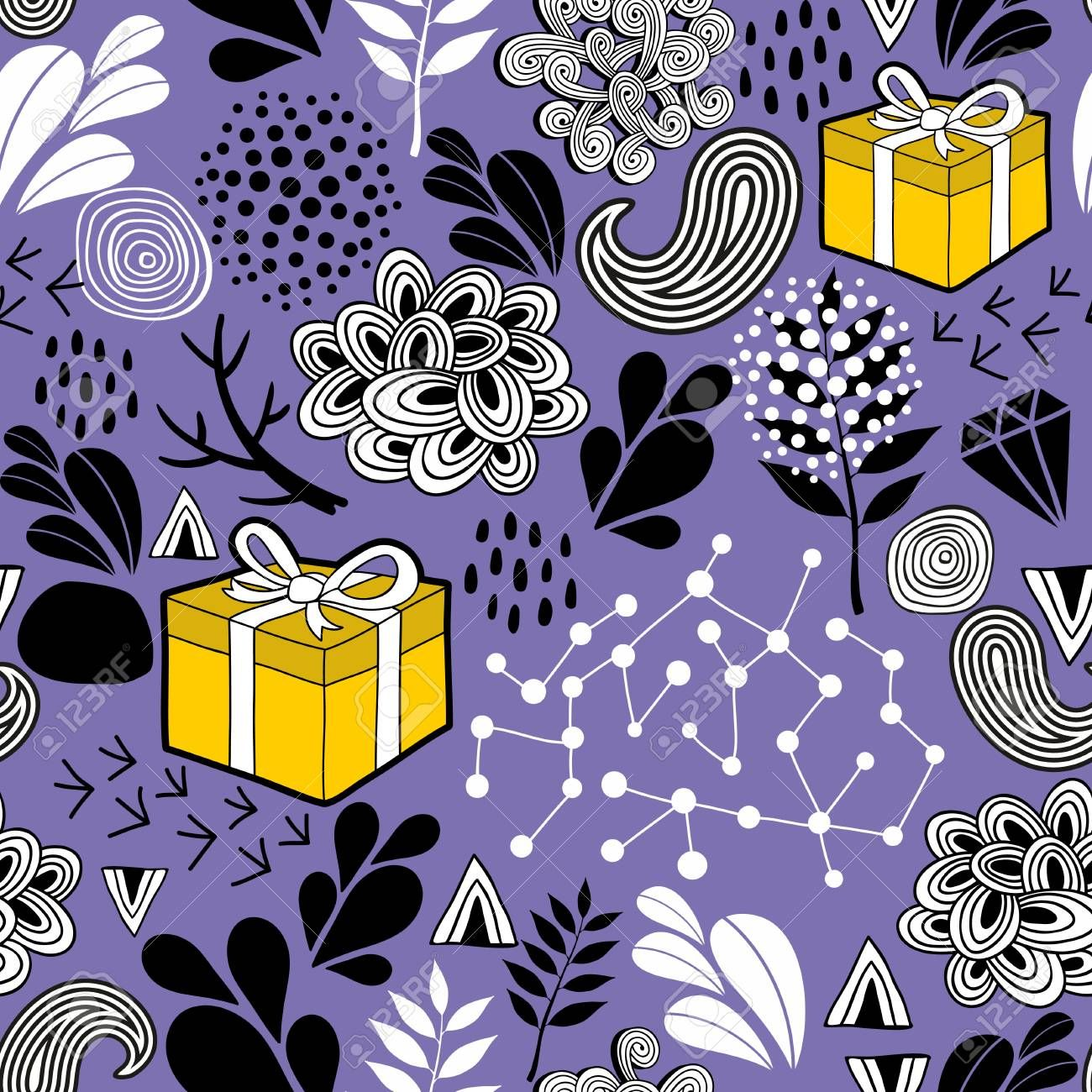 Seamless background with gift box and nature elements. Vector illustration. Endless pattern with yellow presents. Illustration , #SPONSORED, #box, #nature, #elements, #Seamless, #background