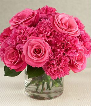 Pink Carnations And Roses Centerpiece Bright And Fun Wedding Bouquets Pink Carnation Centerpieces Pink Flower Centerpieces